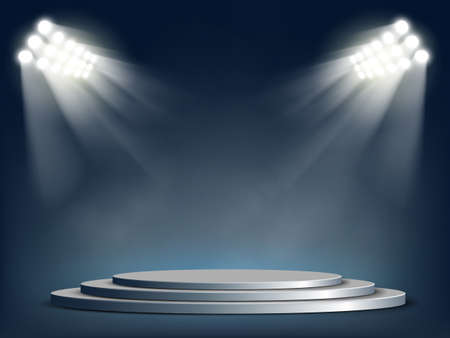 Round template podium or stage illuminated by floodlight. Vector background