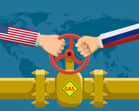 Hands holding a valve. Gas pipeline Nord Stream. Vector illustration