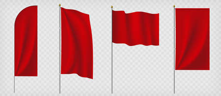 Set of red flags. Template isolated on a transparent background. Vector illustration. Stock Illustratie