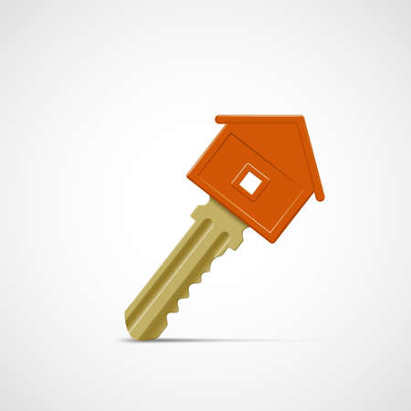 Real estate concept icon. House key isolated on white background. Vector illustration.