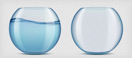 Glass aquariums with water and empty. Mockup isolated on transparent background. Vector template