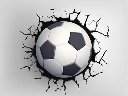 Soccer ball flying through the wall with cracks. Vector illustration