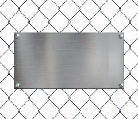 Blank metal plate on the netting grid fence. Mockup isolated on white background. Vector template Stock Illustratie