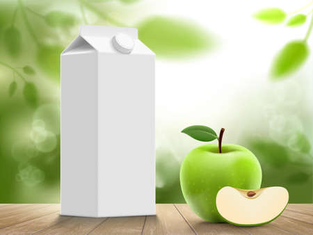 White juice box with green apple. Packaging template. Vector mockup