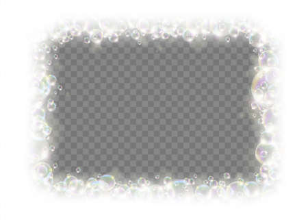 Square frame made of soap bubbles. Template isolated on a transparent background. Vector illustration