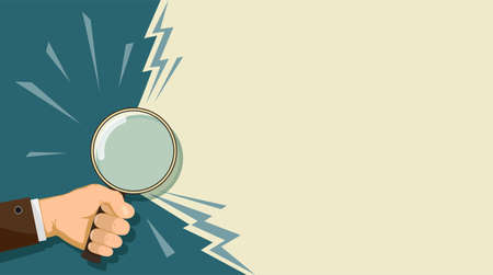 Man holding a magnifying glass in his hand. Background for copy space. Vector illustration.