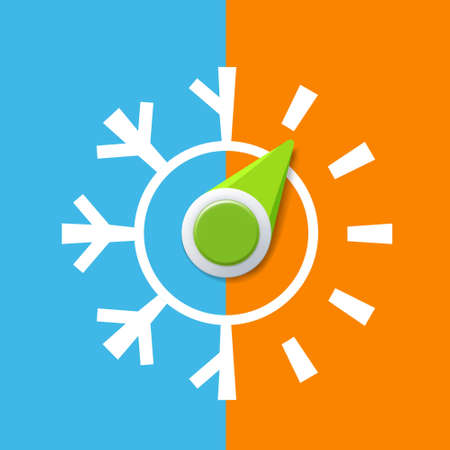 Icon thermostat with arrow. Climate control regulator with hot and cold temperatures. Vector illustration.