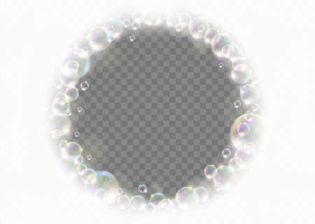 Ring frame made of soap bubbles. Template isolated on a transparent background. Vector illustration