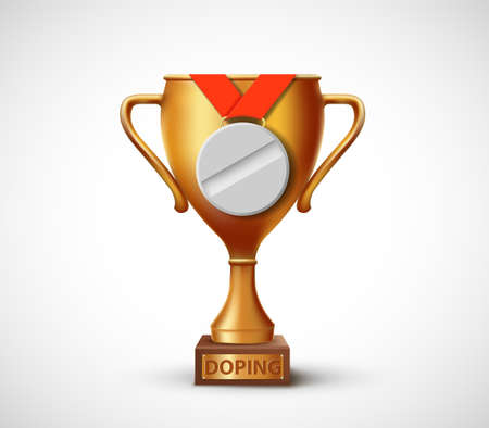 Golden Cup of winner with doping pill instead of medal. Vector illustration Ilustración de vector