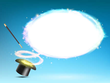 Magic wand and hat with glow. Background for text. Vector illustration. Stock Illustratie