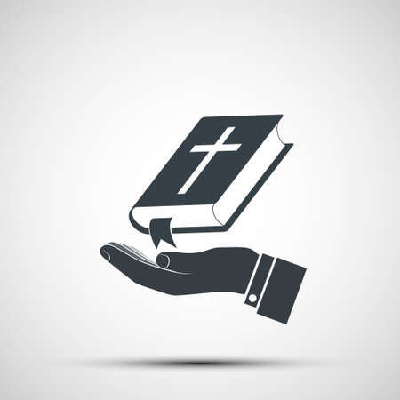 Priests hand holds the holy Bible. Icon isolated on white background. Vector illustration Stock Illustratie