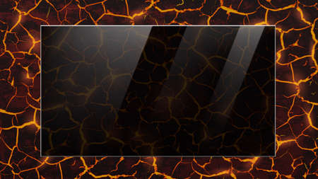 Black glass transparent plate on molten lava background. Mockup for text. Vector template. Stock Illustratie