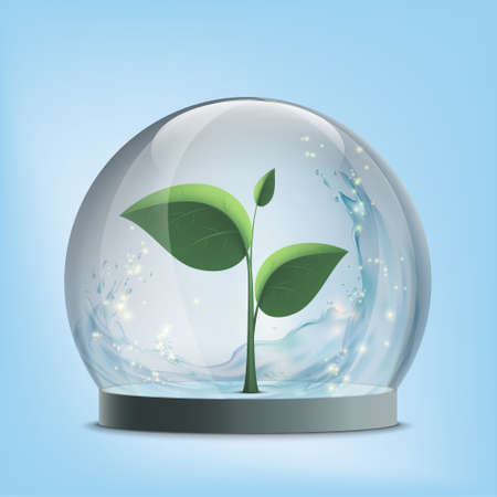 Green plant inside a glass dome. Save Earth. Environmental protection concept. Vector illustration.