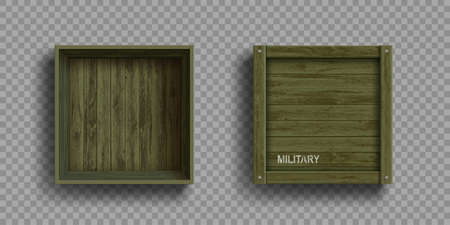 Empty open and closed green military wooden boxes. Set blank packages template. Isolated on transparent background. Vector mockup. Stock Illustratie