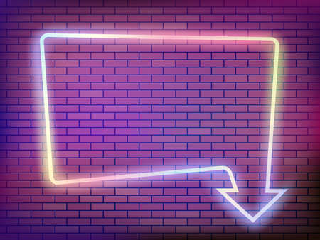 Neon frame with arrow on a brick wall. Empty template for text. Vector background Stock Illustratie