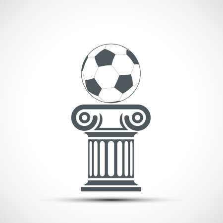 Soccer ball lies on the ancient Greek column. Icon isolated on white background. Vector illustration. Stock Illustratie