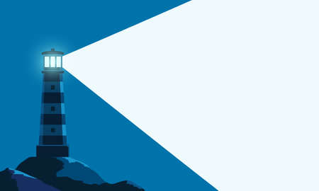 Lighthouse tower with a ray of light. Background with copy space. Vector illustration Stock Illustratie
