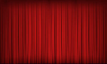 Red velvet curtain in a theater or cinema. Vector background Stock Illustratie