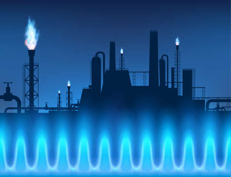 Gas pipeline with torches against the background of a dark blue sky. Vector illustration. Stock Illustratie