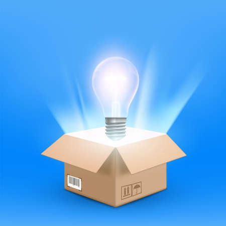 Open cardboard box with a glowing light bulb. Vector illustration.