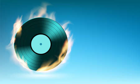 Vinyl music disc on fire. Background with place for text. Vector illustration.