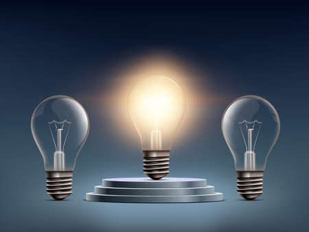 Light bulb standing on the winners podium. Business success and creativity concept. Vector illustration.