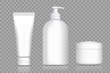 Plastic bottles for cream and soap. Packing templates set. Vector mockup isolated on transparent background.