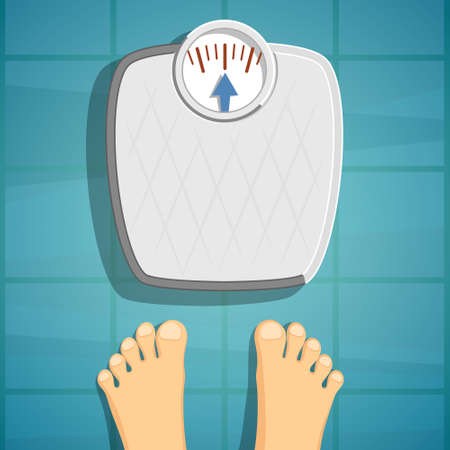Human feet beside weighing scales. Diet, fitness and healthy lifestyle. Vector illustration Vecteurs