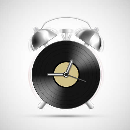 Vinyl record on the dial of the alarm clock. Icon isolated on white background. Vector illustration.