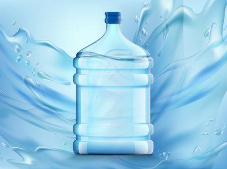 Plastic bottle with clean fresh water for dispenser. Vector illustration. Vektorové ilustrace
