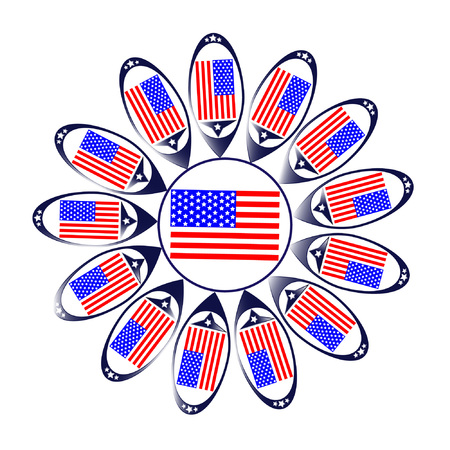 The  sun of the USA with the  national American flag Stock Vector - 80488914