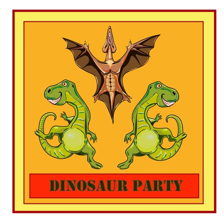 Illustration for the book for children about dinosaurs or party of dinosaurs
