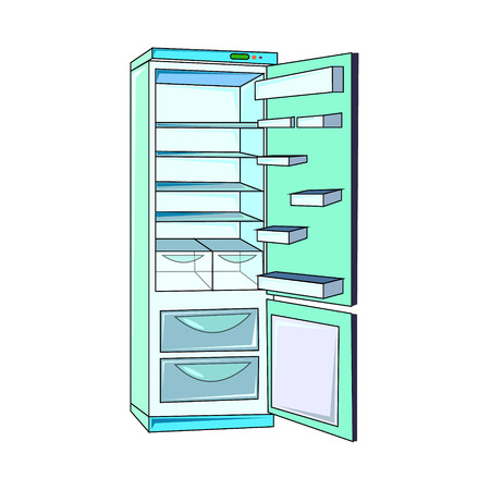 The vector illustration of the electric refrigerator to create an internet shop