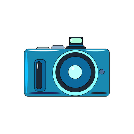 The vector illustration  of the photo camera to create an internet shop icon or a book about home electric appliances or a store of electrical goods