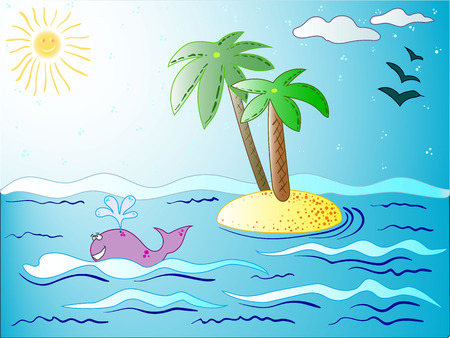 The vector travel post card with best summer and island for tourism company.