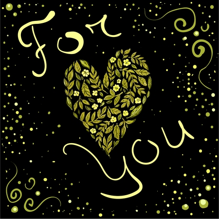 The Vector gold post card with heart for you in love or greeting card for Valentine day. Love you.