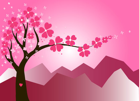 The Vector gold post card with sakura  tree heart for you in love or greeting cherry-tree flowers card for Valentine day. Love you.