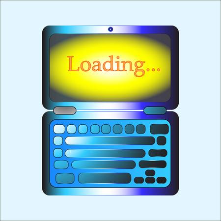 The Vector loading on laptop for Web button. Ilustração