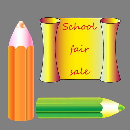 The cool Vector school pencil with school bus and schoolchildren. Vector consists of 2 layers: pencil, school  words.