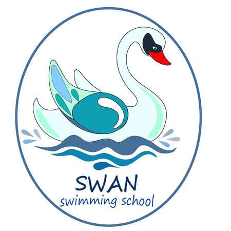 The cool Vector logo swan for T-shirt design or swimming school or Illustration for the book for children.