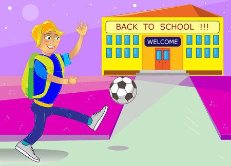 The cool Vector back to school with school building and schoolchildren. Vector consists of 2 layers: schoolboy, school building. Ilustração