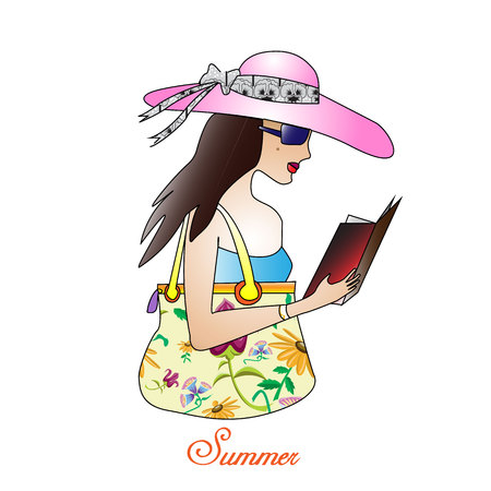 A young woman in a hat reading a book in summer. Çizim
