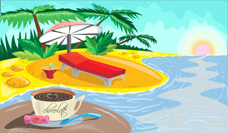 The Vector of tropical beach Illustration