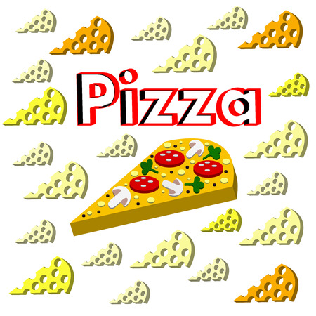 The cool Vector pizza On a white background.