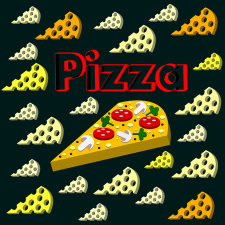 The cool Vector pizza On a black background. Illustration