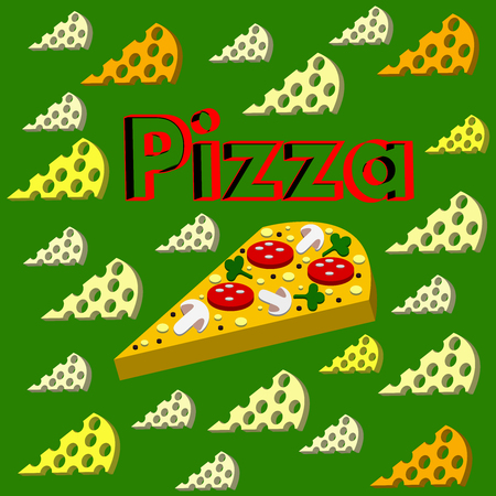 The cool Vector pizza On a green background.