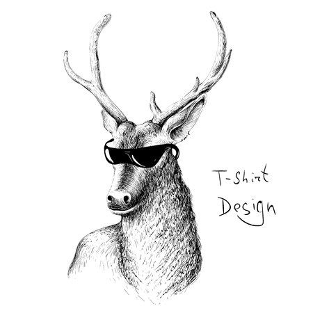 The Vector logo natural deer in sunglasses for T-shirt design or outwear.  Hunting style background.