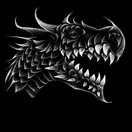 The dragon illustration for T-shirt design or outwear. Hunting style dragon background. Ilustração