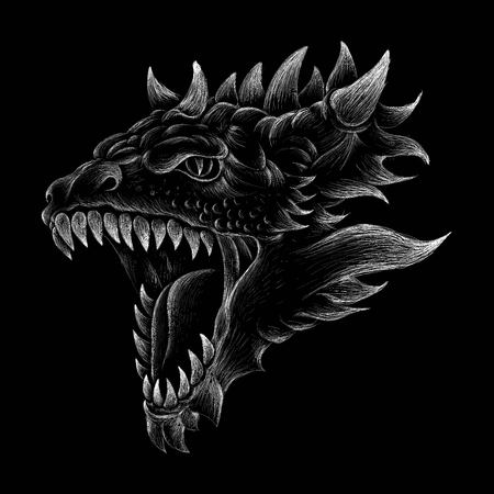 The illustration dragon for T-shirt design or outwear. Hunting style dragon background. Illustration