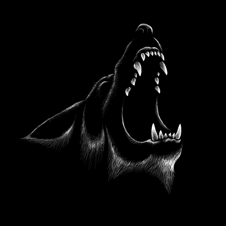 The wolf illustration for T-shirt design or outwear. Hunting style wolf background.
